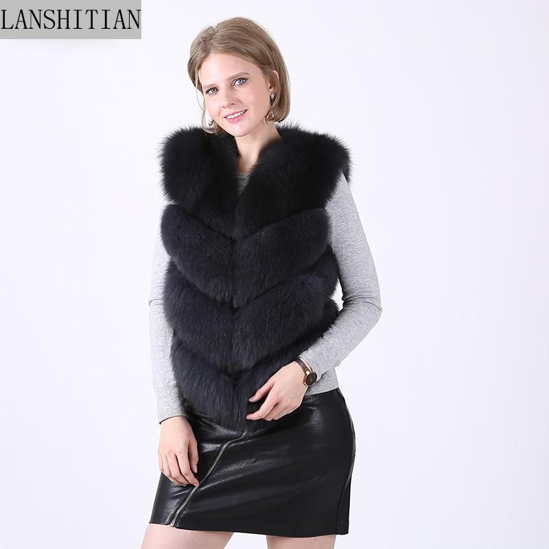 2018 Natural Real Fox Fur Vest Long Fur Sleeveless High