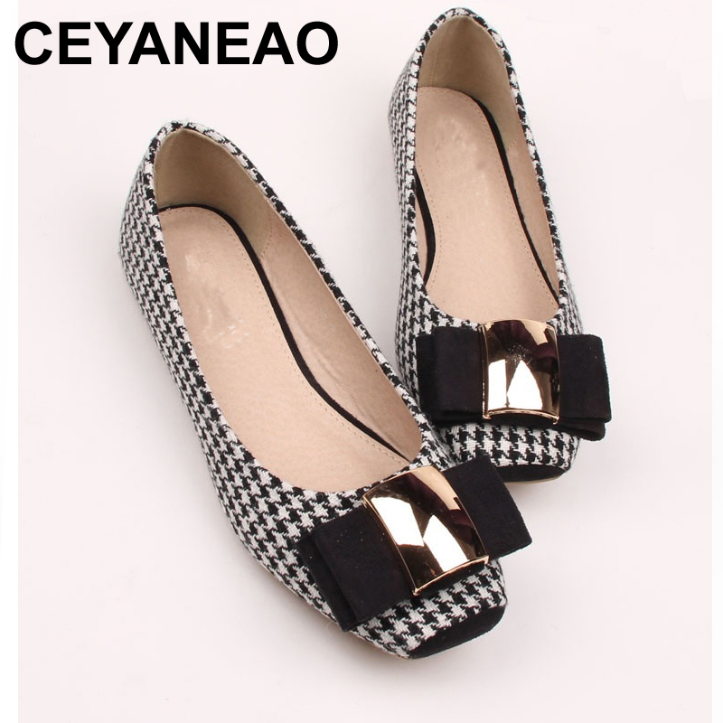 CEYANEAOFashion Women Shoes Woman Ballet Flats Plaid Cloth Shoe Bowknot Comfortable Square Head Casual Shoes Slip On Women's Fla