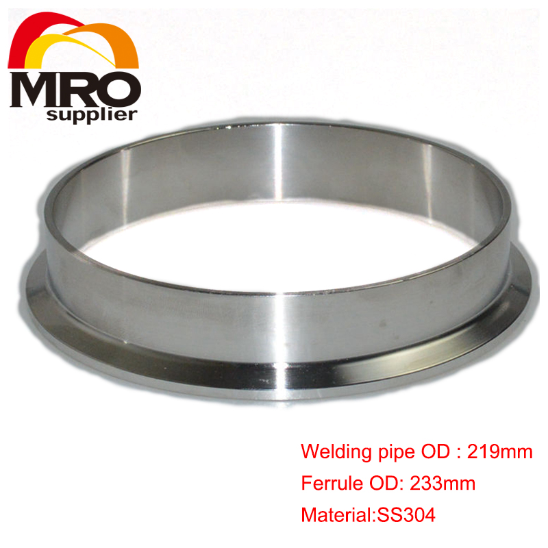 219mm 8 OD Sanitary Weld on 233mm Ferrule FitsTri Clamp 8 Stainless Steel Welding Pipe Fitting SS304 SW-219 1 set 8 219mm od sanitary pipe weld ferrule tri clamp silicone gasket stainless steel ss304 swt 219