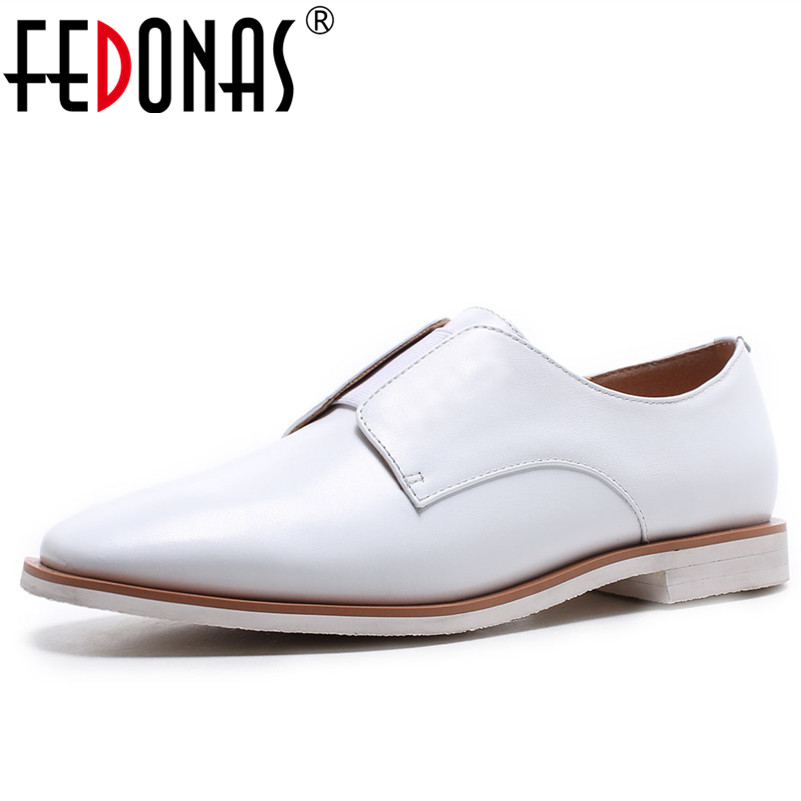 FEDONAS New Top Qulaity Women Black White Loafer Shoes Woman Sexy Comfortable Slip-on Genuine Leather Casual Brogue Shoes new hot sale women shoes breathable buckle slip on for women comfortable dress shoes genuine leather white colour free shipping