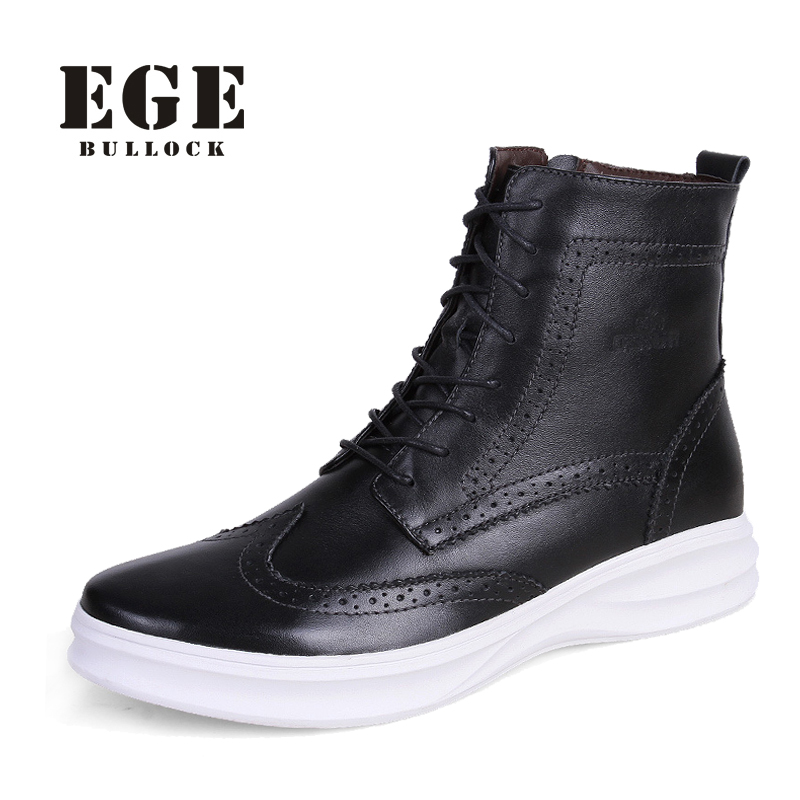 ФОТО EGE Men Winter Boots New Bullock Style High Quality Rubber Sole Fashion Genuine Leather Male Shoes Brand Causal Warm Boots Men