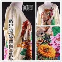 Impresión Digital tela cheongsam ropa vestido de flores de posicionamiento bourette pijamas de tela de seda de algodón artificial