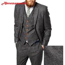 Abruzzomaster темно-коричневый мужской костюм в елочку британский стиль современный Блейзер 3 шт. свадебные костюмы Твидовые костюмы жениха