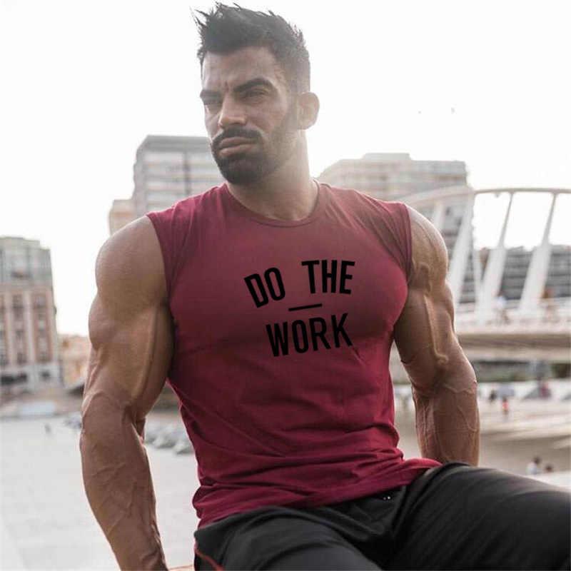 Otot Pria Kapas Gym Tank Top Pria Tanpa Lengan Kemeja Tanktops Binaraga Pakaian Singlet Kebugaran Stringer Latihan Rompi