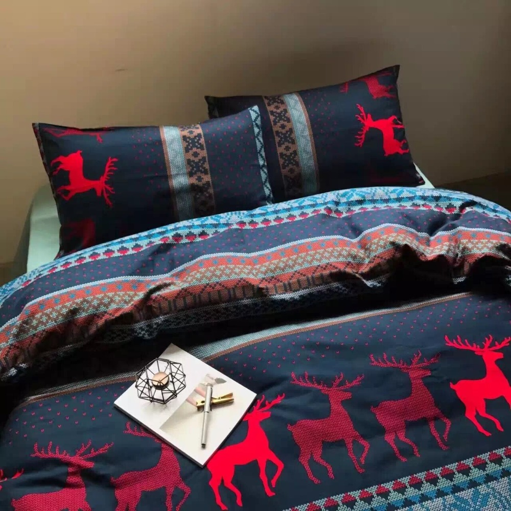2016 New Winter Christmas Bedding Set 100 Cotton Red Elk