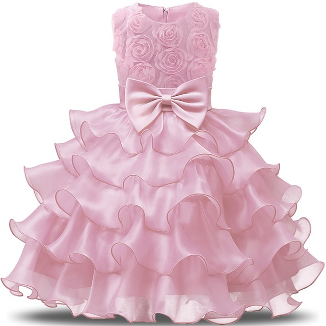 6c35e3c2fa128 Fashion Formal Chdren Wedding Dress Baby Girl Bow Pattern For Toddler 1-8 Years  Birthday Party Baptism Dress Clothes Ceremony