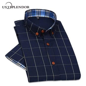 249347ad8f9ff46 2019 Новая мужская рубашка с коротким рукавом в британском стиле, клетчатая Повседневная  летняя рубашка, приталенная Корейская мужская хлопк.