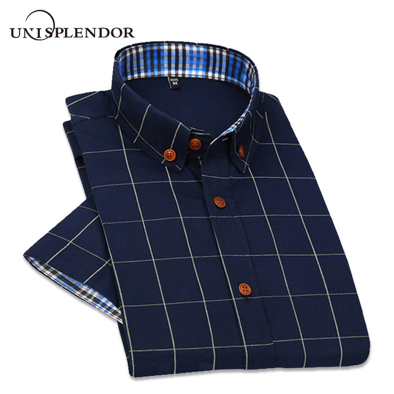2019 Ny britisk stil Mænds korte ærmet T-shirt Plaid Casual Summer Shirts Slim Fit Koreanske Mænd Cotton Man Fashion Shirt YN588