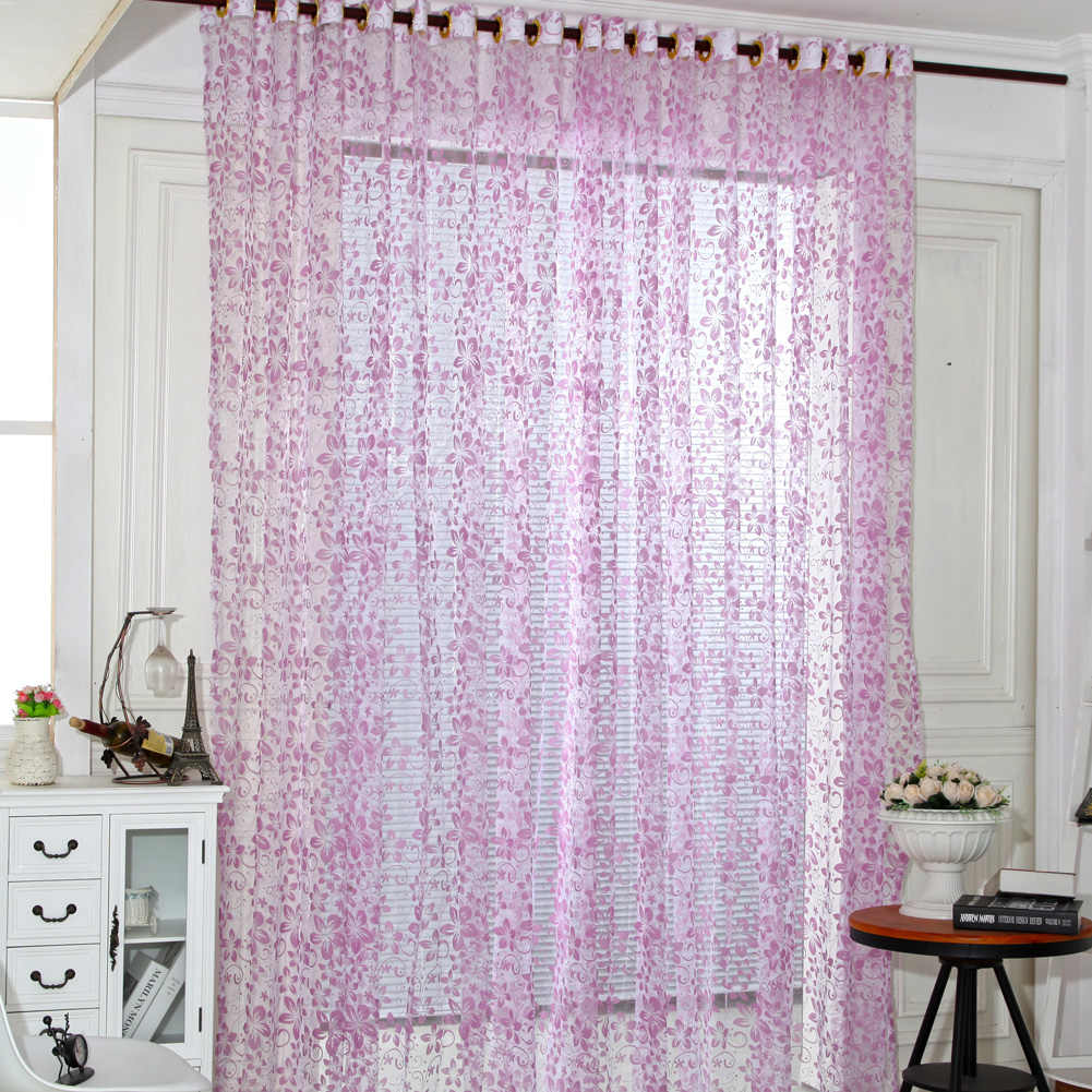Five Leaves Flowers Sheer Voile Curtain Door Window Curtains Chic Room Flower Sheer Curtain Home Decoration White Green Pink