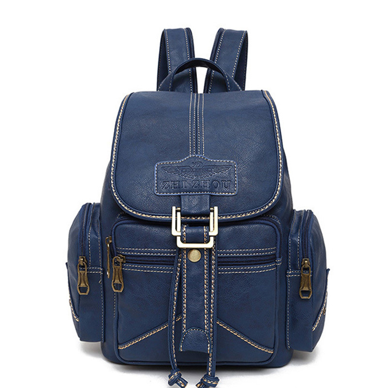 e57d15a64d5b Women PU Leather Backpack female back pack college style backpack school  backpacks vintage student schoolbag retro