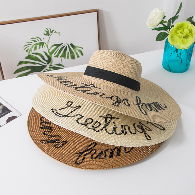 f7f4be4f650 2018 Sun Hat For Women Letter Summer Cap Big Brim Ladies Summer Straw Hat  Youth Hats For Women Shade Sun hats Beach ...