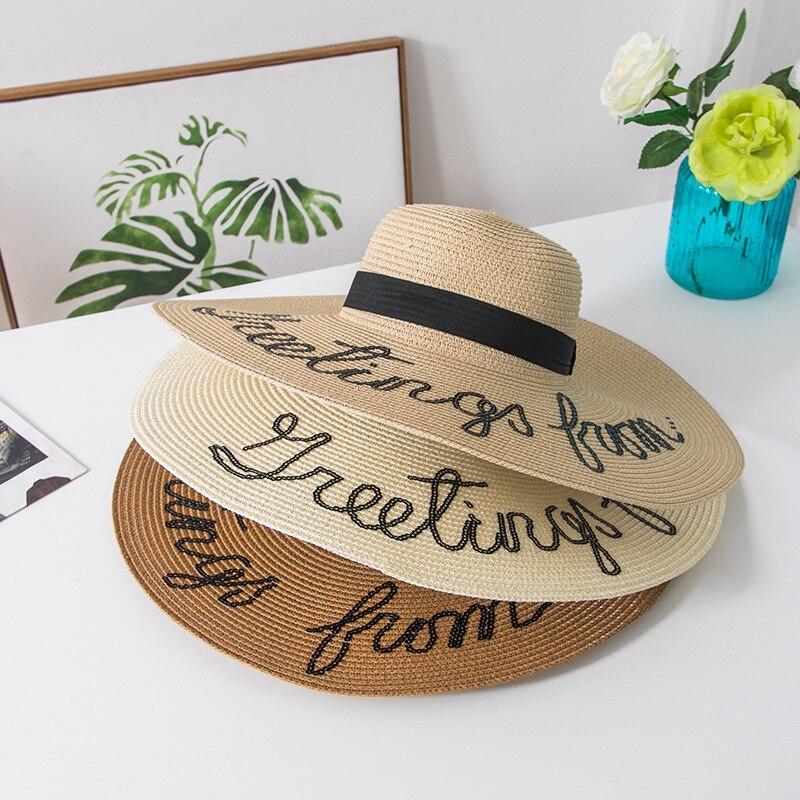 Sun Hat Do Not Disturb Letter Wide Brim Summer Hats For Women Anti-uv Folding Straw Hat Beach Sea Female Women's Hats Caps