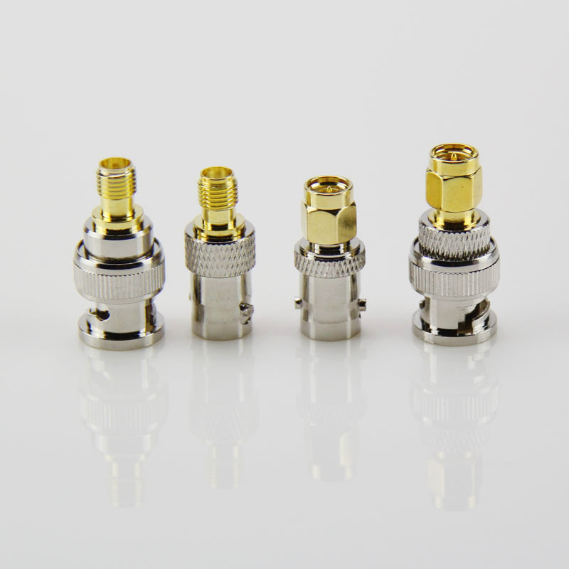 4Pcs BNC- SMA RF Adapter Kit SMA to BNC Straight Nickel & Gold Plated BNC to SMA Male/Female --M25 f type female jack to sma male plug straight rf coax adapter f connector to sma convertor