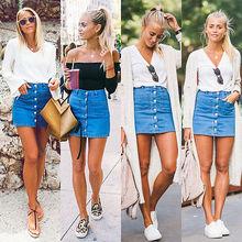 Fashion Women Sexy Button Denim Skirt High Waist Bodycon Slim Pencil Causal Short Mini Skirt