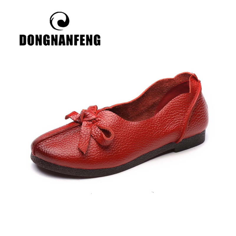 DONGNANFENG Women Flats Old Mother Shoes Loafers Cow Genuine   Leather     Suede   Rubber Vintage Slip On Bowknot Casual 35-40 OL-318