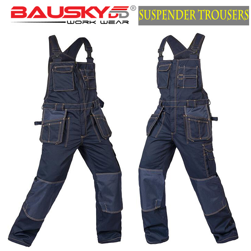Bauskydd Women & Men's male cargo workwear overall bib pants suspender trousers trousers with braces overall  free shipping 2017 spring and summer womens denim bib pants overalls female popular loose plus size cargo pants jeans suspender trousers