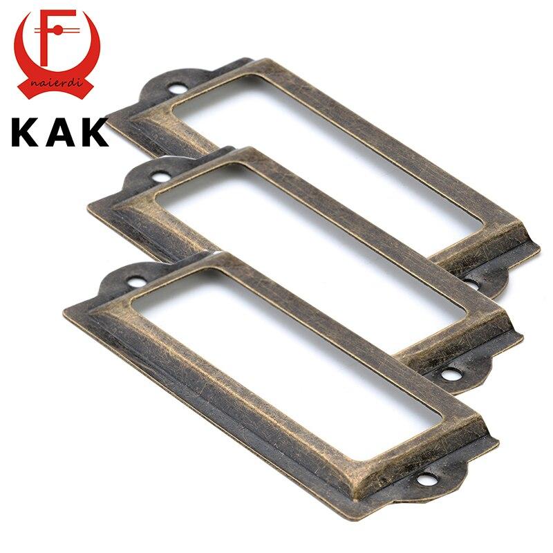 12pcs Set Antique Brass Metal Label Pull Frame Handle File Name Card Holder For Furniture