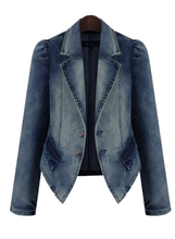 M Office Lady  Vintage Full Solid Turn-down Collar Single Breasted Slim denim jacket