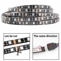 12 V tira de luz LED 5050 RGB negro PCB cc 12 V 1M 2M 60led/m tira de luz Flexible impermeable cinta Led decoración lámpara