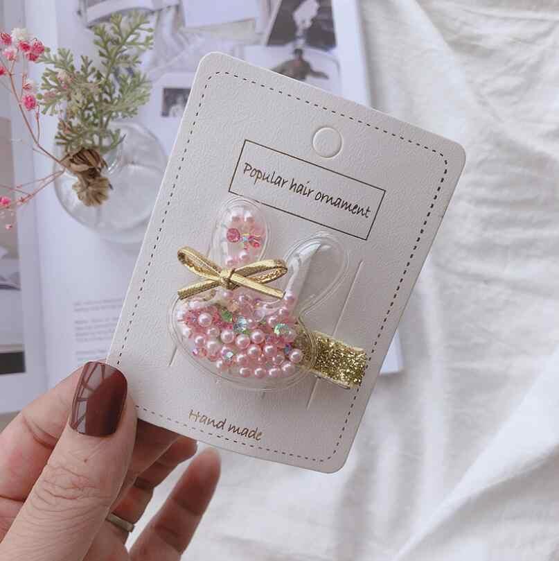 2019 NEW 6PCS transparent animal hair clips for girls mini hair bow elastic rubber bands hair ties girls hair accessories