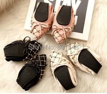 Freeshipping New Arrival Best Selling Lady Fashion Sheepskin Genuine Leather Bowtie Casual Flat Women's Shoes 3 Colours C018