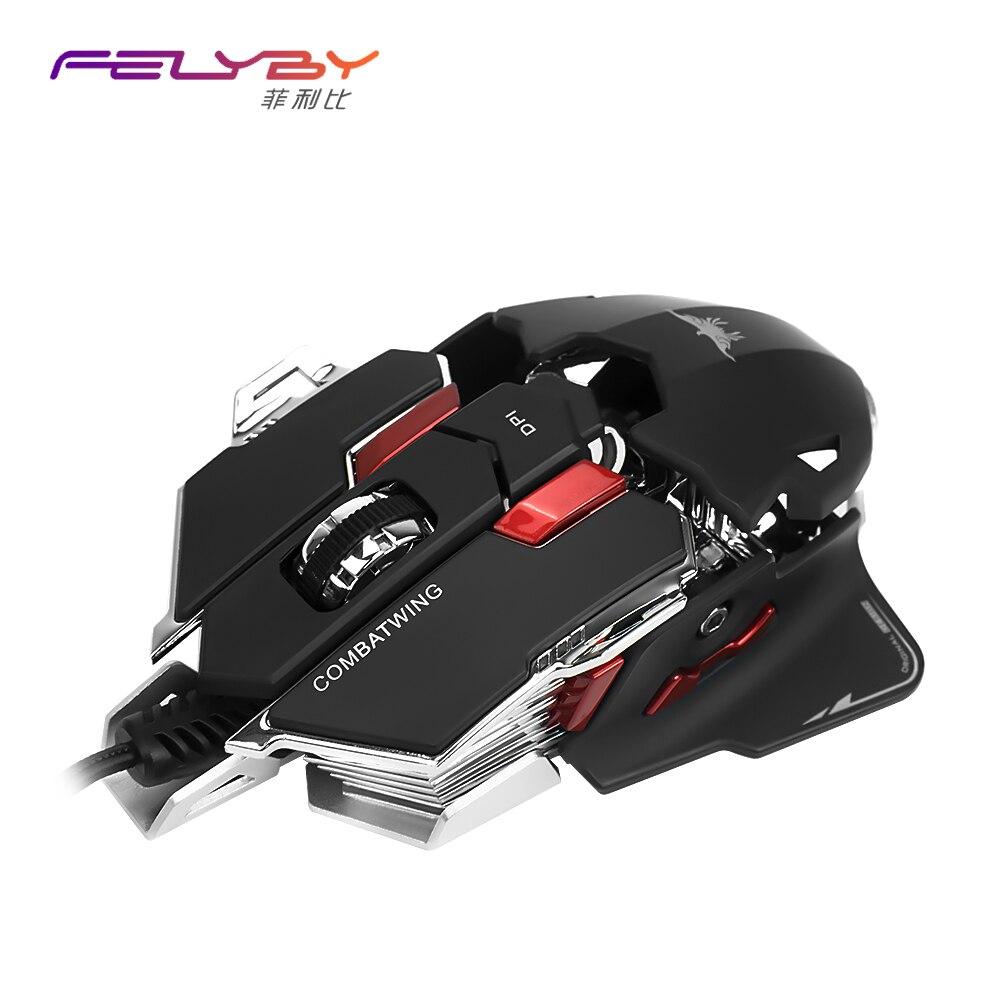 Felyby USB проводной игровой мыши компьютер игровая мышь Профессиональные программируемый игровая мышь LOL DOTA 2 игровая мышь ...