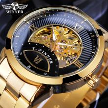 купить Winner Automatic Men Watch Golden Black Transparent Skeleton Mechanical Business Stainless Steel Wrist Watches Relogio Masculino дешево