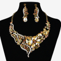New Brand Crystal Choker Statement Necklace Vintage Necklace Earring Gold Chain Fashion Bridal Wedding Jewelry set For Brides