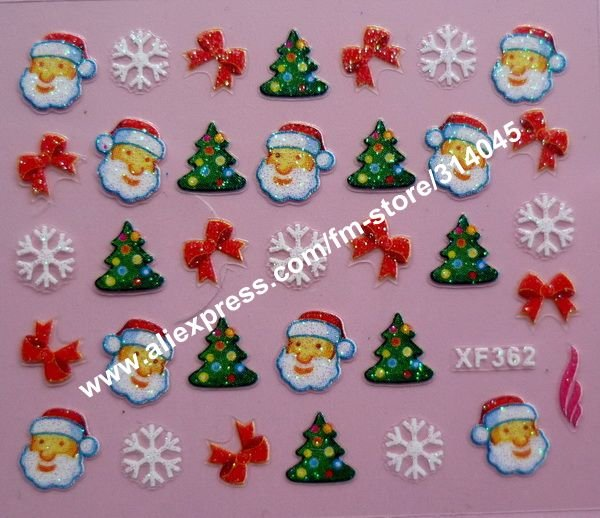 Free Express 24 kinds Christmas Designs 3D Nail Art Christmas Nail Sticker Decal Holidays XMAS FATHER Nail Art Decoration