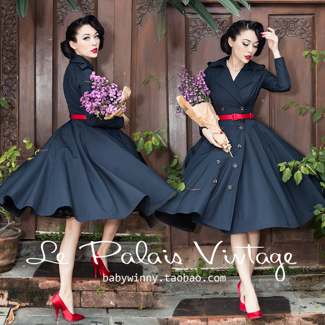 07f484e7d9a 40- le palais vintage 50s classic black elegant double breasted swing  ladies trench coat plus size abrigos mujer elegant coats