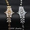 Elegant Shaped Big Flower Charm Wedding Bracelet Bridal Cubic Zirconia Imitated Diamond Bracelets Jewelry For Brides CB083