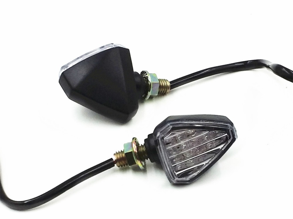 Black Triangle LED TURN SIGNAL INDICATOR Blinker For Street Dual Sport Bike MX Custom F4I CBR 600 1000 Ninja R1 R6 GSXR XB9