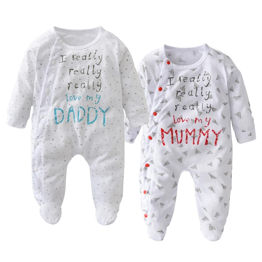 Infant Newborn Creeper Romper One Piece Baby I Love My Dad Mom For Boys /& Girls