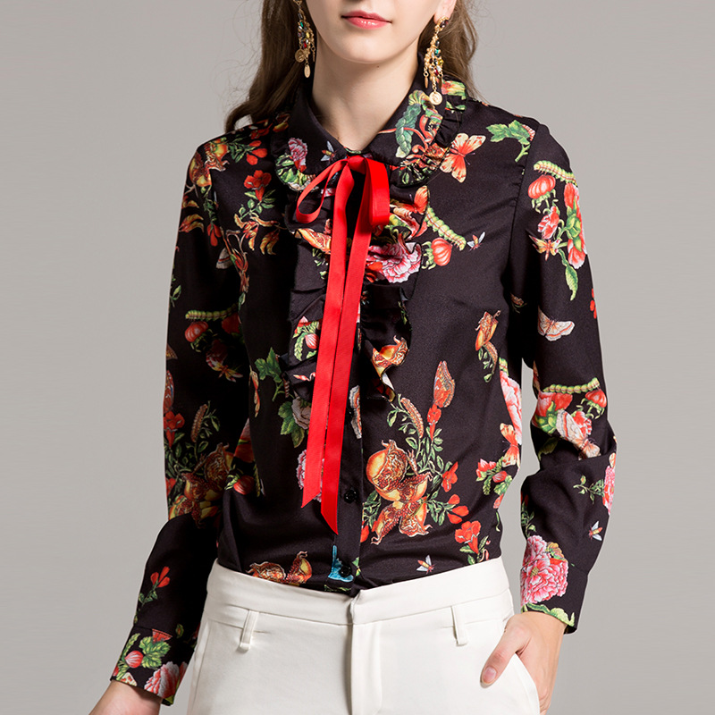 Black Ribbon Quality Sleeve Spring summer Vintage High Prints Women's 2018 Long Fashion Blouses Designer Ruffles orange New Shirt avpRO4Rg