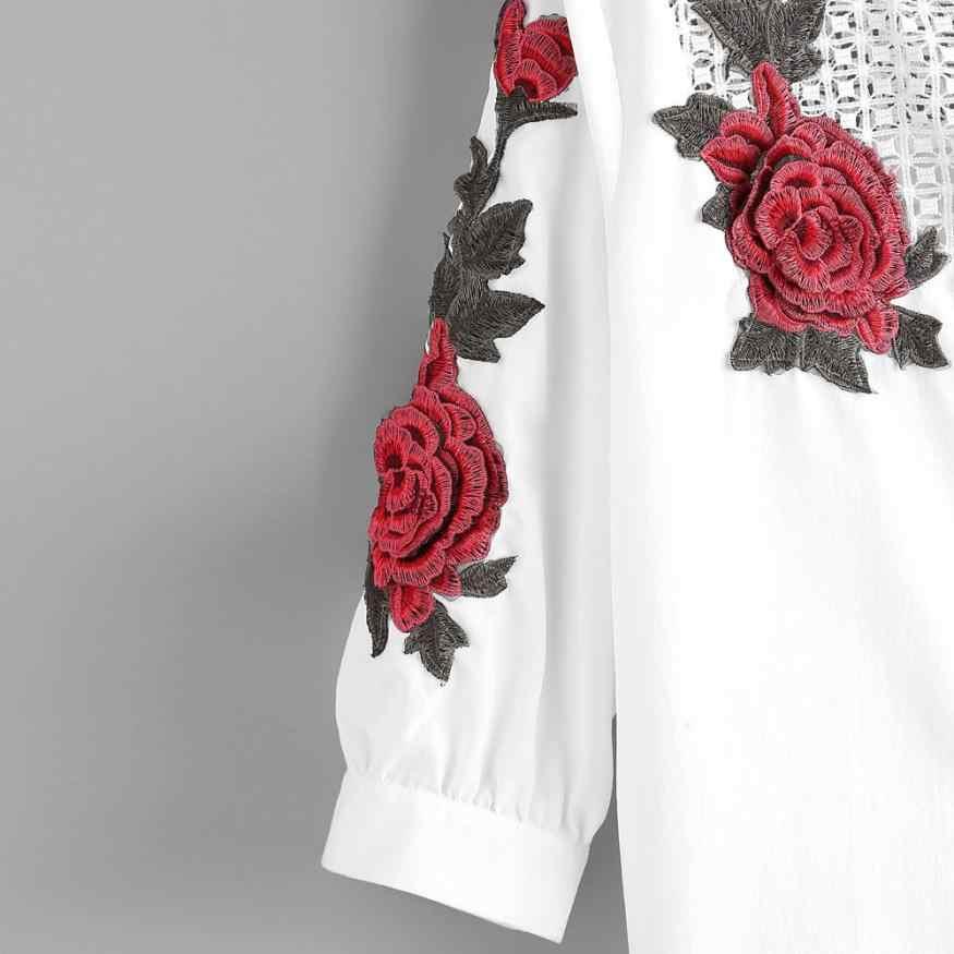 2019 刺繍レースブラウス女性秋中空アウト白ブラウスシャツファッション女性長袖ローズフローラル Blusas 女性