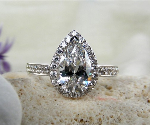 3Carat Great Pear Shape Synthetic Diamonds Ring Original Solid Sterling Silver Marriage Ring Water Drop Engagement Women Ring