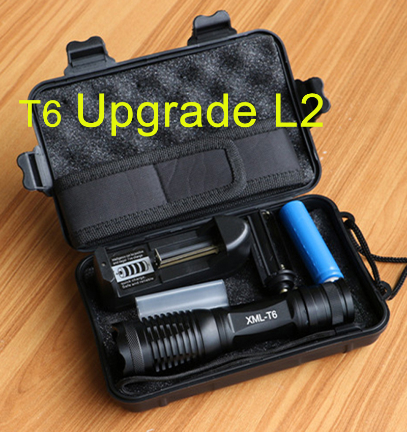 6000Lumens flashlight CREE XM-L2/T6 LED Torch Zoomable LED 5 modes Torch Flash Light with 18650 battery+charger+holster+free box cost price cree xm l 3 t6 4000 lumens led flashlight torch portable flash light spotlight for hunting charger 2 18650 battery