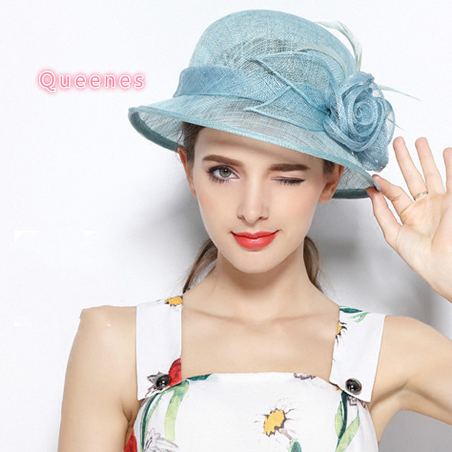 English Style Women Sinamay Hat Fashion Bowler Lake Blue Vintage Flower Sun Hat  Ladies Royal Cocktail 9a99afc972a