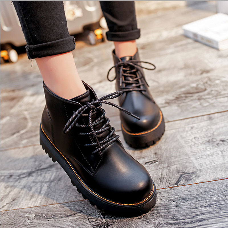 Women's Classic Lace-up Nubuck Leather Stitching Ankle Martin Boots
