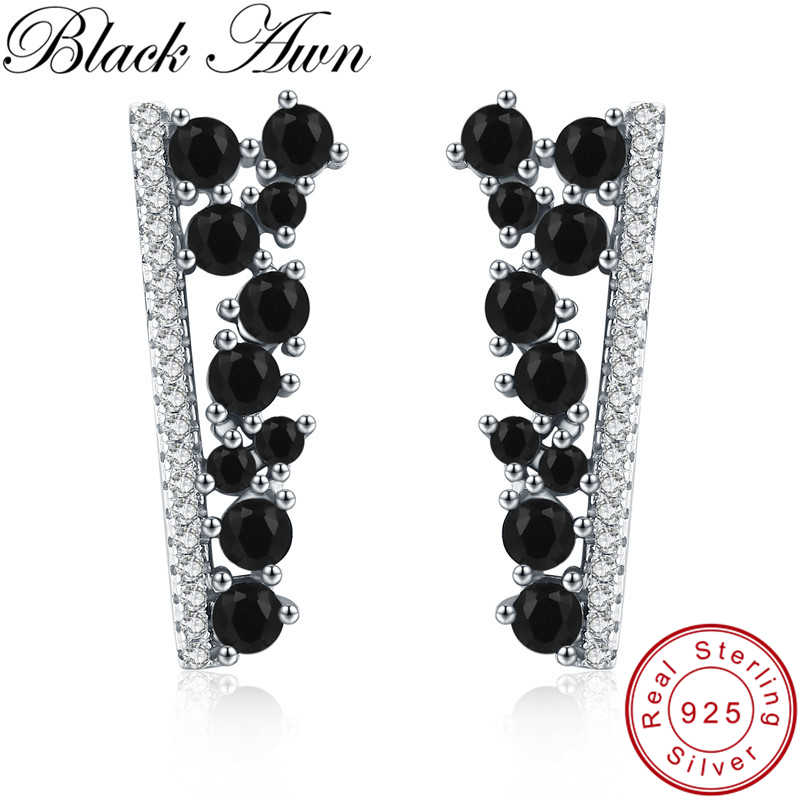 [BLACK AWN] Fine Jewelry 925 Sterling Silver Earrings Black Spinel Tree Wedding Stud Earrings for Women Female Bijoux I055