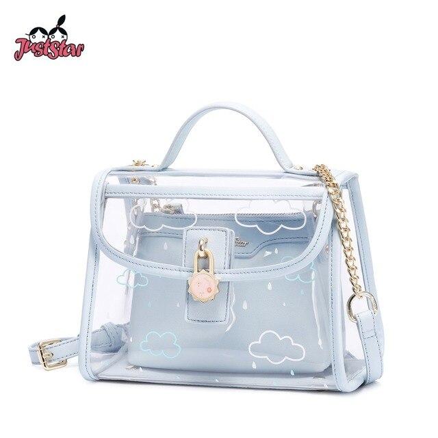 dbd571a25f JUST STAR Women s PVC Waterproof Transparent Handbags Ladies Summer Beach  Chains Purse Female Composite Clear Messenger