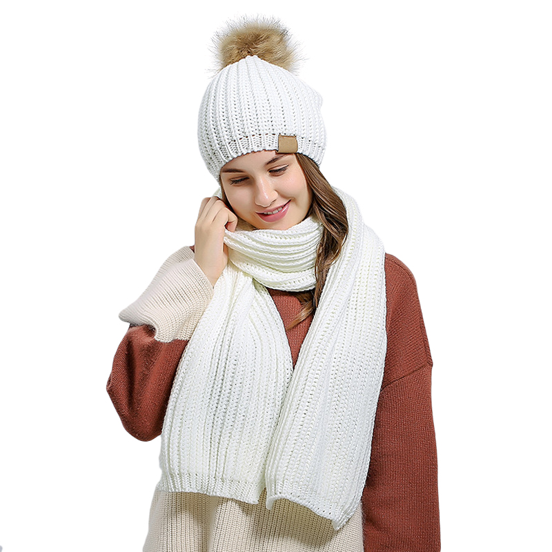 83f790522f39a ... Winter Beanies 2PCS Wool Knitted Pom Pom Hat Scarf Set For Women Bonnet  Femme Hiver Ladies ...