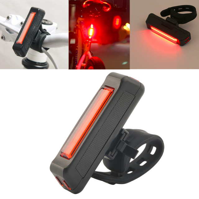 6 modes USB Rechargeable Bike Bicycle Light Rear Back Safety Cycling Tail Light Red 100LM fast shipping