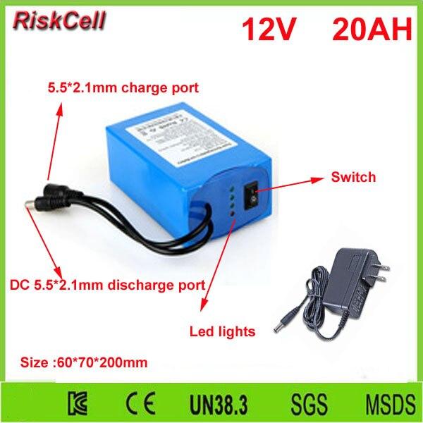 5 pz/lotto DC 12 V 20000 mAh batteria Ricaricabile Li Ion 12 v 20ah pack con 2A Caricatore di CA - 2