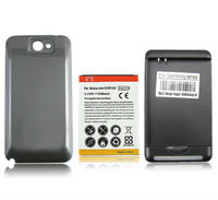 YIBOYUAN Gray Black 6500mAh Extended Battery Back Cover USB Charger For Samsung Galaxy Note 2 II