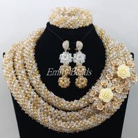 2015 Fabulous Gold Big African Jewelry Set African Nigerian Wedding White Crystal Beads Jewelry Set New Free Shipping AMJ558