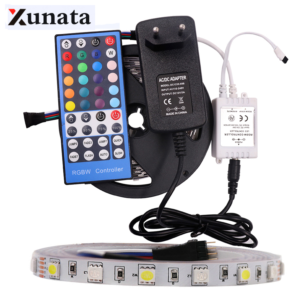 SMD 5050 RGBW RGBWW RGB LED Strip Lihgt Waterproof Flexible Tape DC12V 5M 300LED+ 3A Power Supply + 40Key/44Key Remote Control