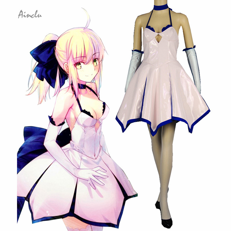 Ainclu Free Shipping Fate stay night Unlimited Blade Works Saber Fantasy Dress Anime Cosplay Women Adult Kid Costumes ...