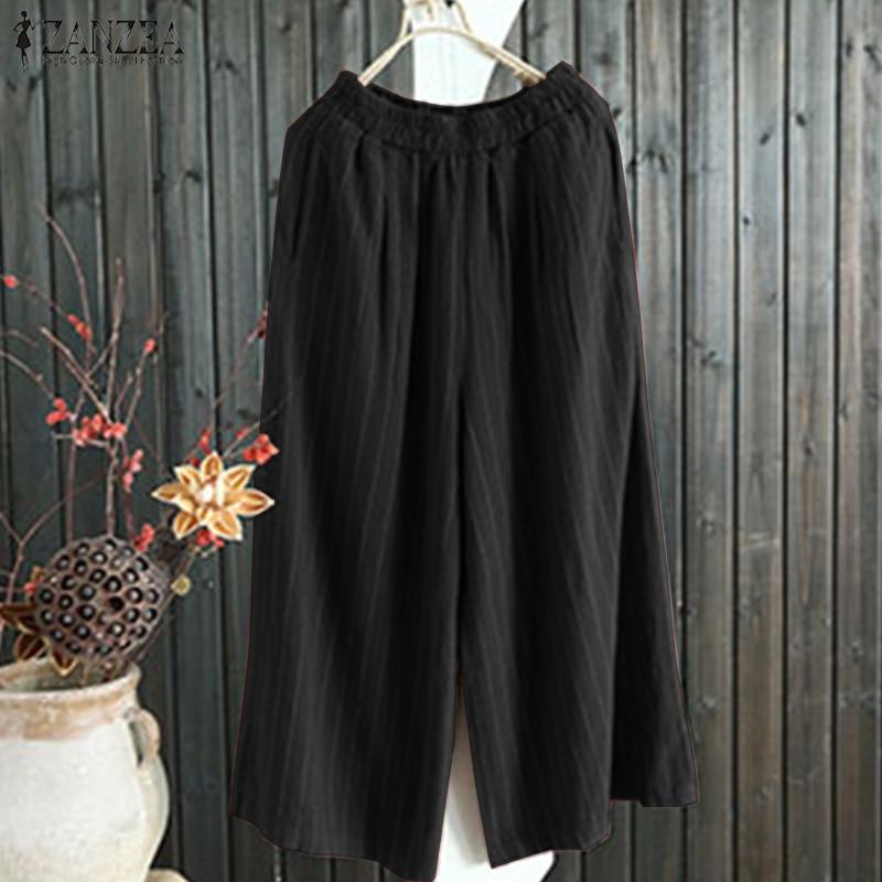 2019 Summer Fashion ZANZEA Women Casual Elastic Waist Striped Cotton Loose Trousers Work OL Long   Wide     Leg     Pants   Harem Pantalon