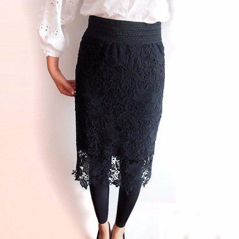 083ecee965e54 talla 6xl Saias Femininas White Black Vintage Crochet Pencil Midi ...
